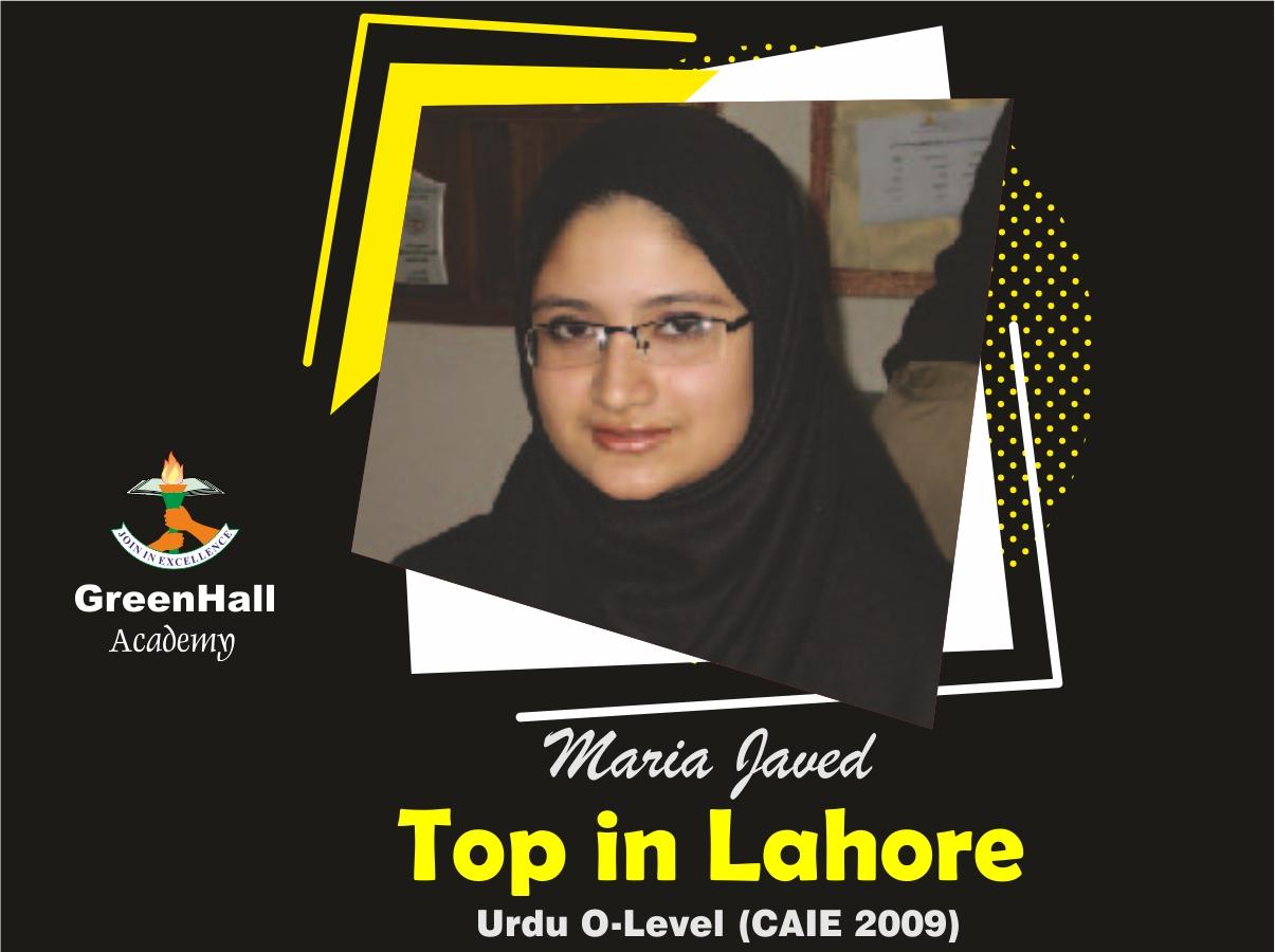 Maria Javed Top in Lahore Urdu GreenHall Academy