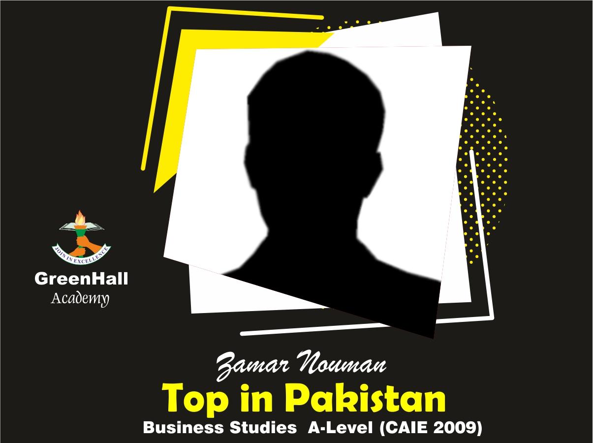 Zamar Nouman Top in Pakistan Business GreenHall Academy