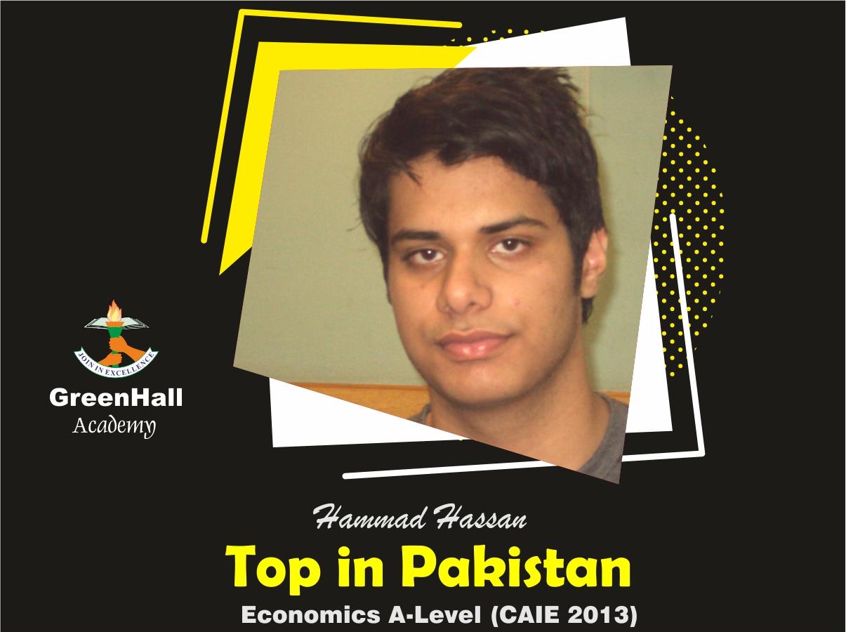 Hammad Hassan Top in Pakistan Economics GreenHall Academy