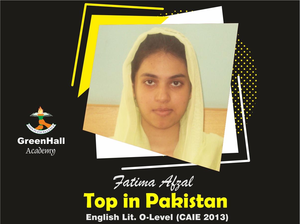 Fatima Afzal Top in Pakistan English GreenHall Academy