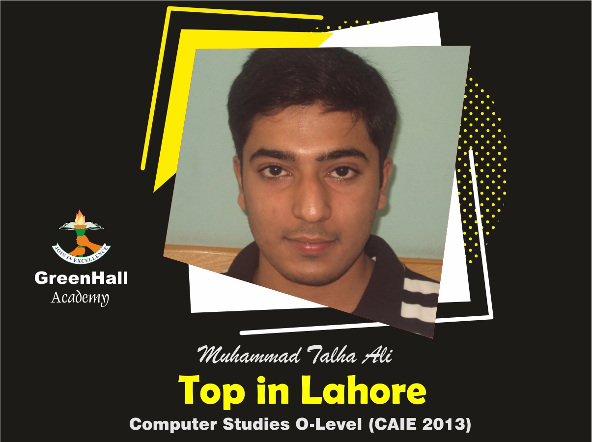 Muhammad Talha Top in Lahore Computer GreenHall Academy