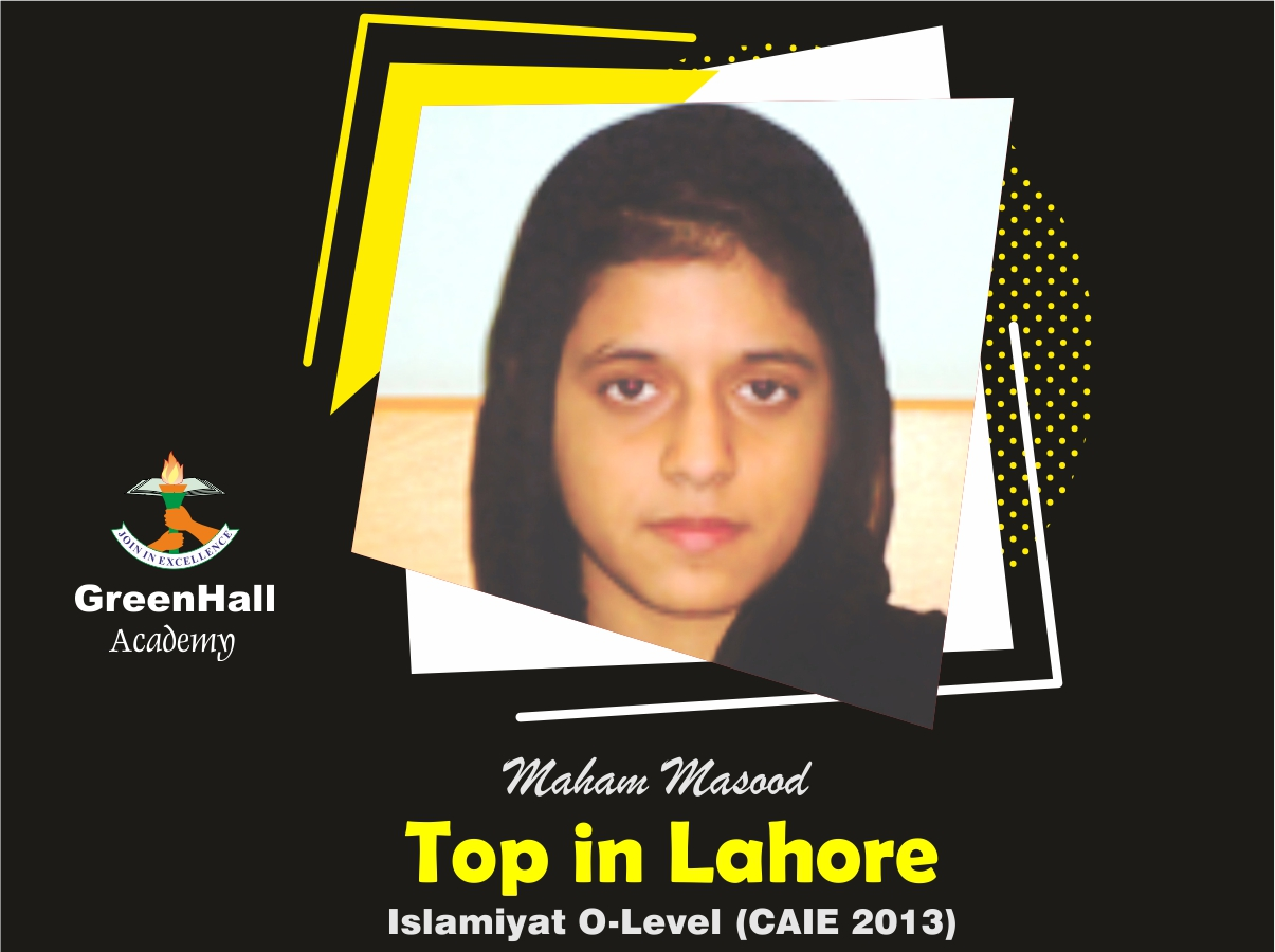 Maham Masood Top in Lahore Islamiyat GreenHall Academy