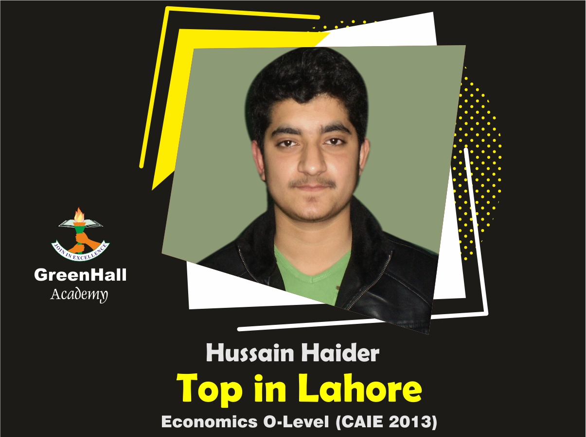 Hussnain Haider Top in Lahore Economics GreenHall Academy
