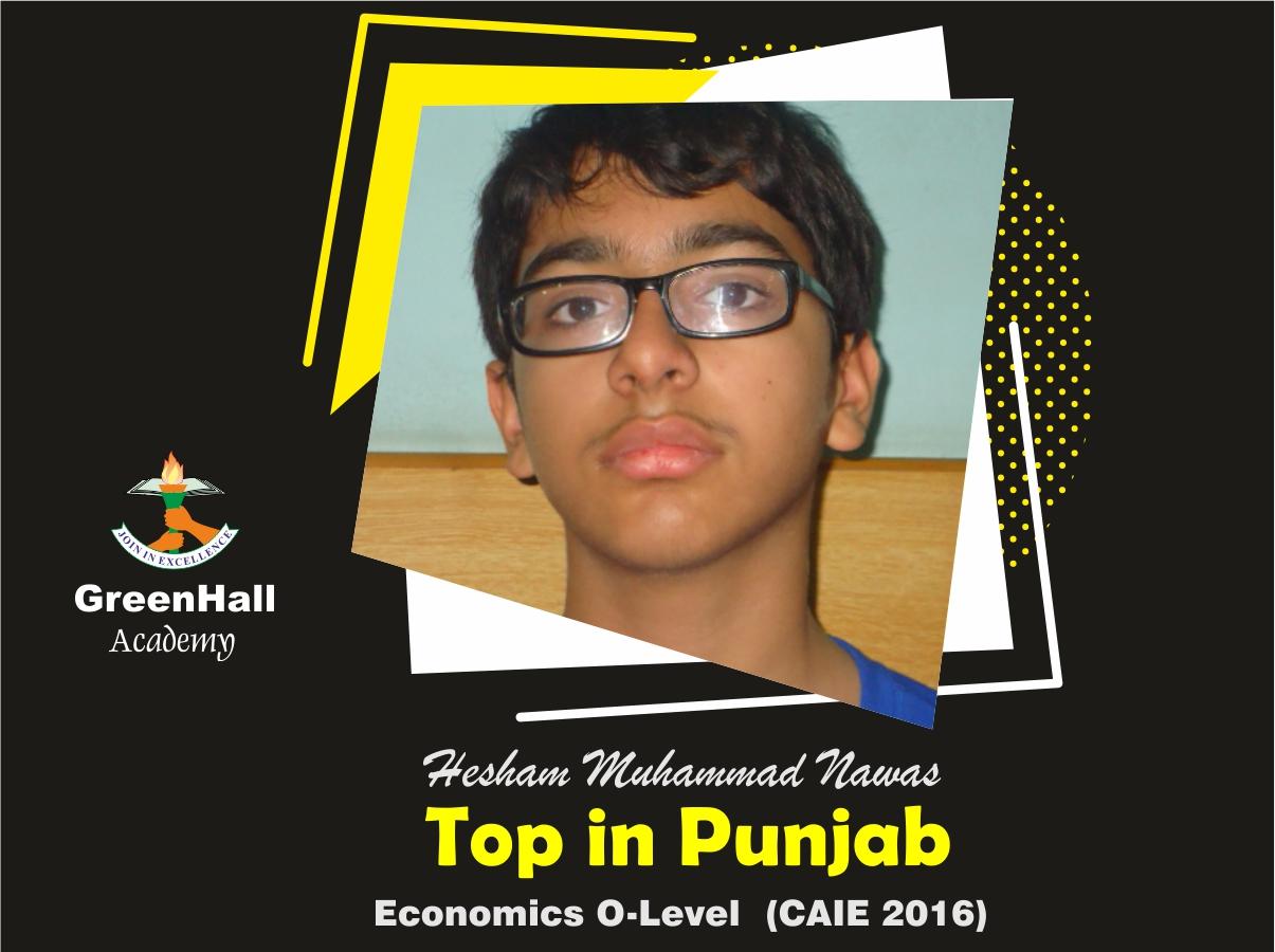 Hisham Top in Punjab Economics GreenHall Academy