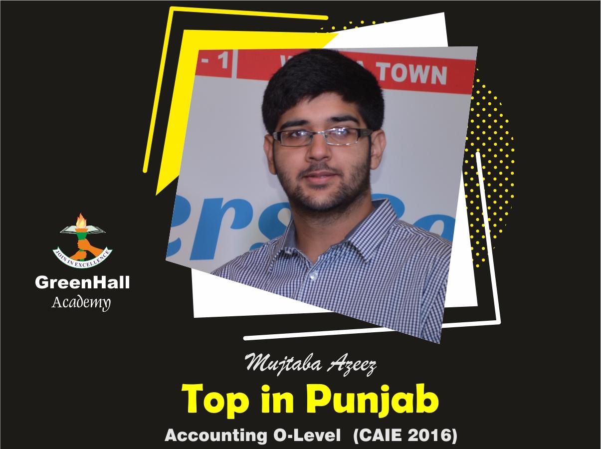 Mujtaba Aziz Top in Punjab Accounting GreenHall Academy
