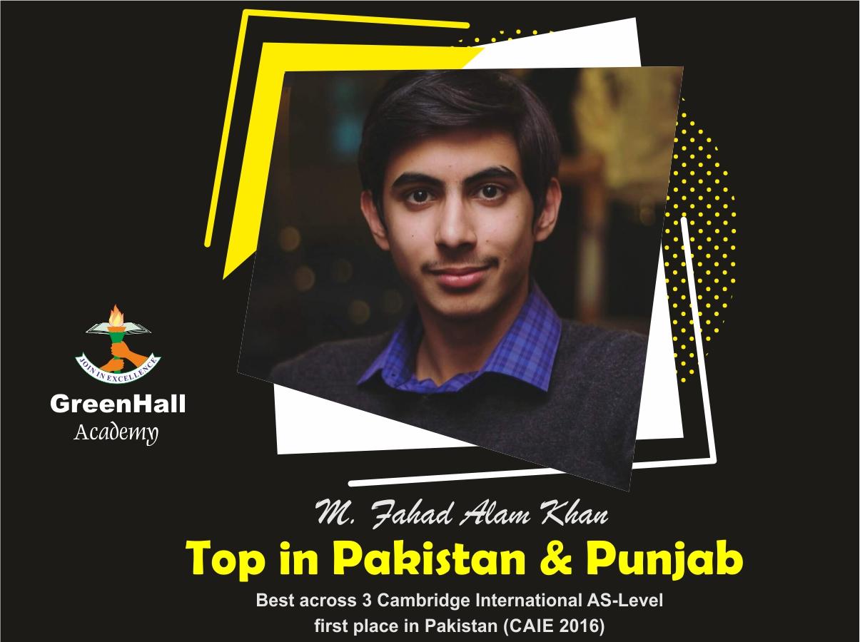 Fahad Alam Top in Punjab Accounting GreenHall Academy