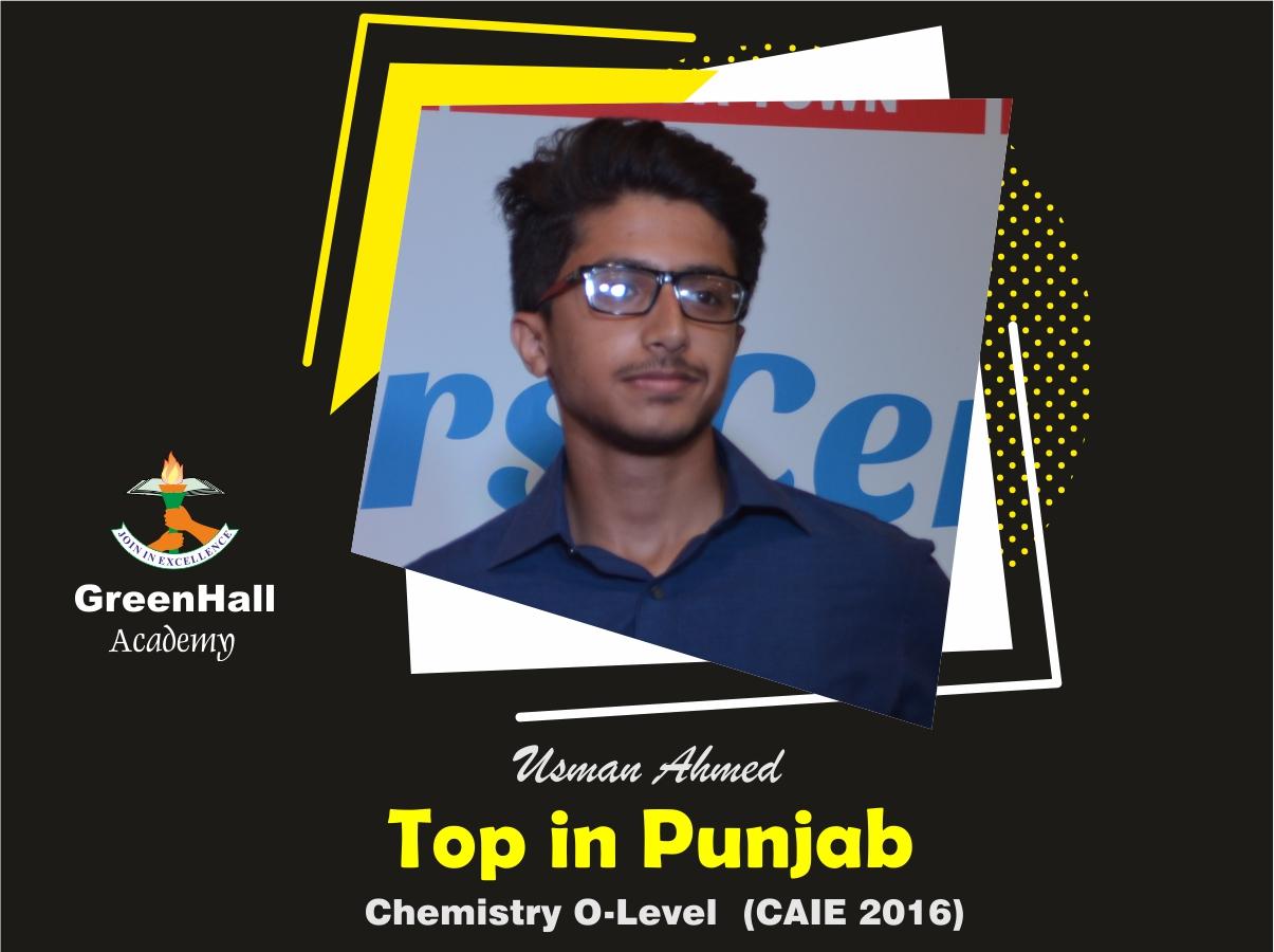 Usman Top in Punjab Chemistry GreenHall Academy
