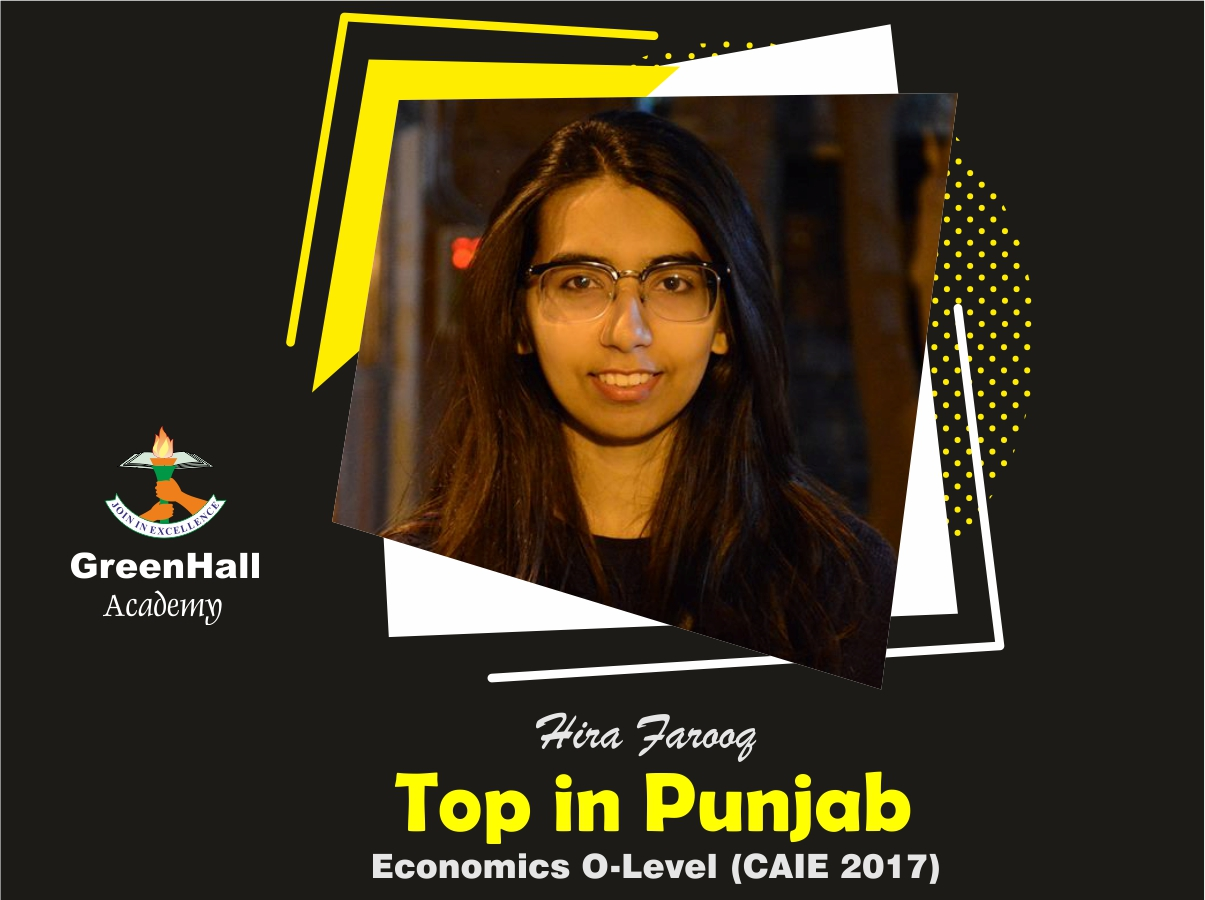 Hira Farooq Top in Punjab Economics GreenHall Academy