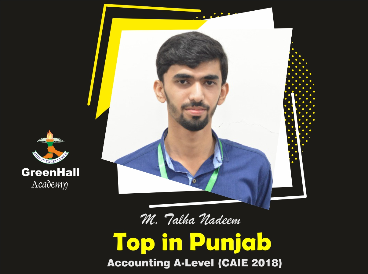 Talha Nadeem Top in Punjab Accounting GreenHall Academy