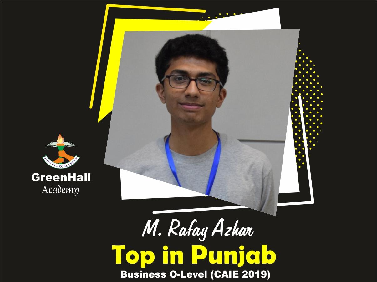 Rafay adnan Top in Punjab Business GreenHall Academy