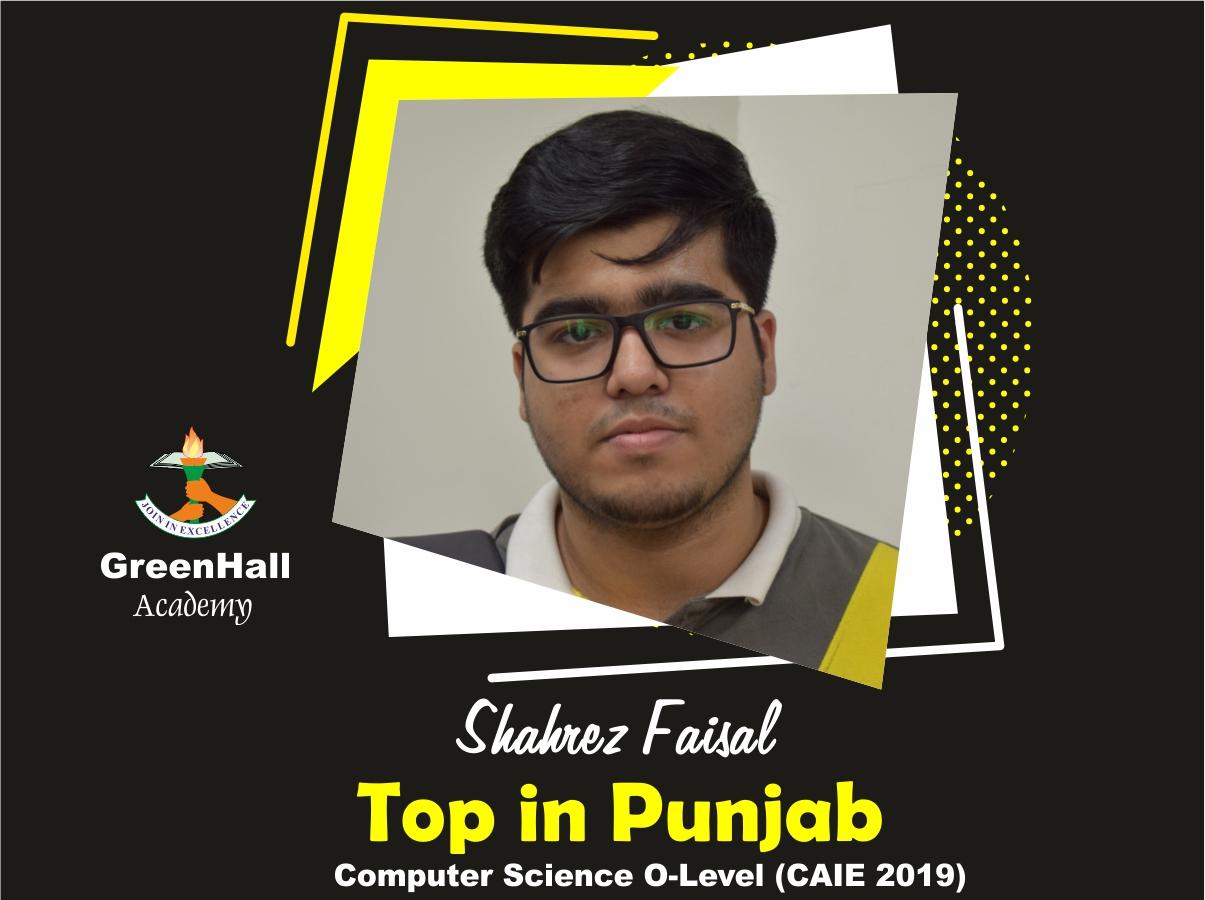 Sharez Faisal Top in Punjab Computer GreenHall Academy