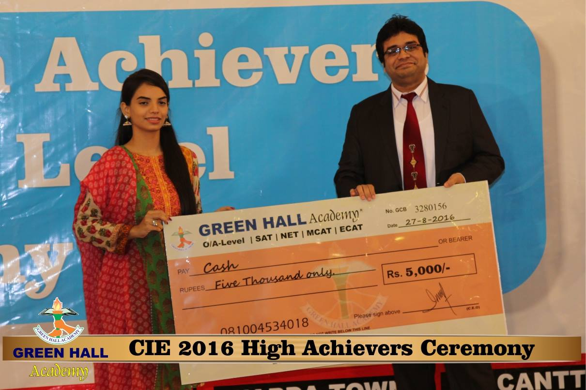 CAIE High Achievers 2016 GreenHall Academy 110