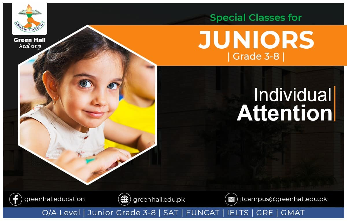 INDIVIDUAL ATTENTION for Junior Section Grade 3-8. New Session Winter 2020
