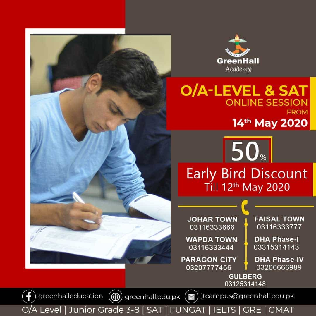 Online Session of GCSE/IGCSE O Levels , A Levels & SAT will start from 14th May 2020.