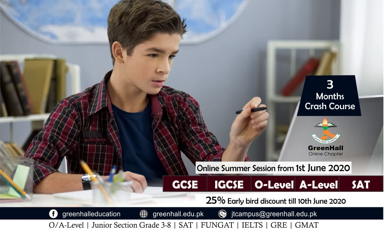 Online Session of GCSE/IGCSE O Levels , A Level & SAT will start from 1st June 2020.