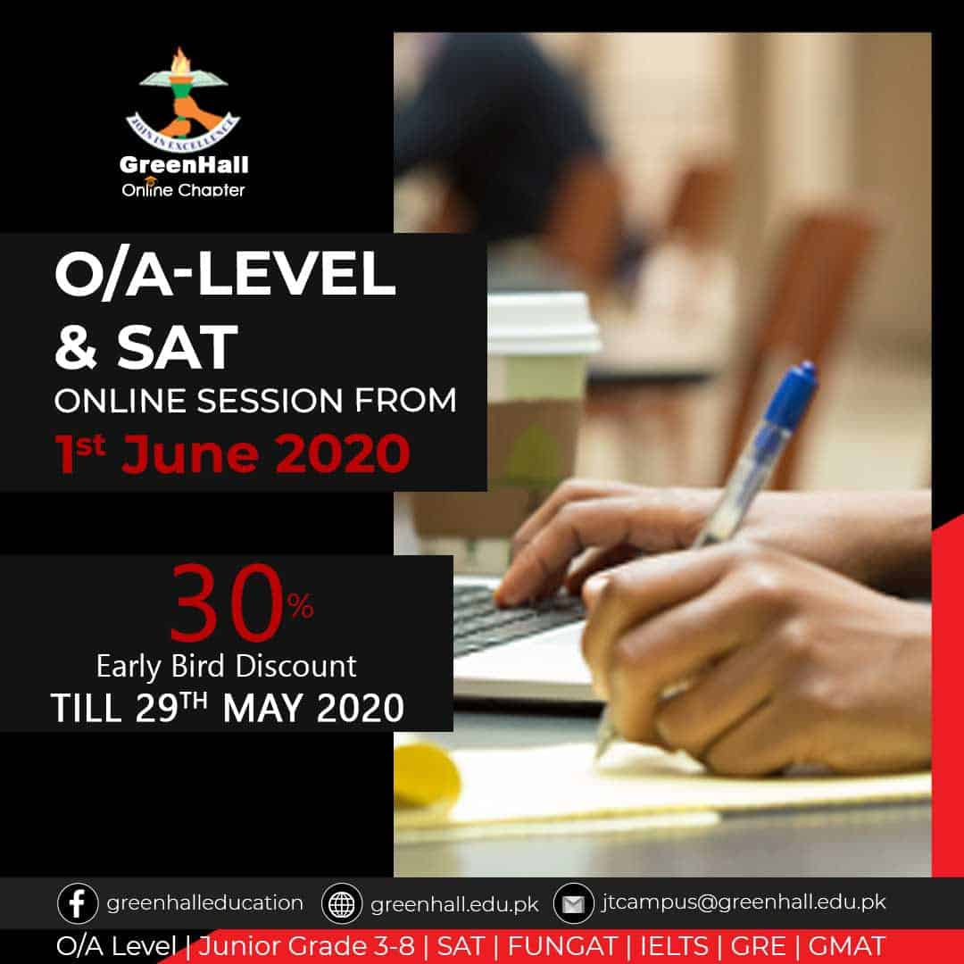 Online Session of GCSE/IGCSE O Levels , A Levels & SAT will start from 1st June 2020.