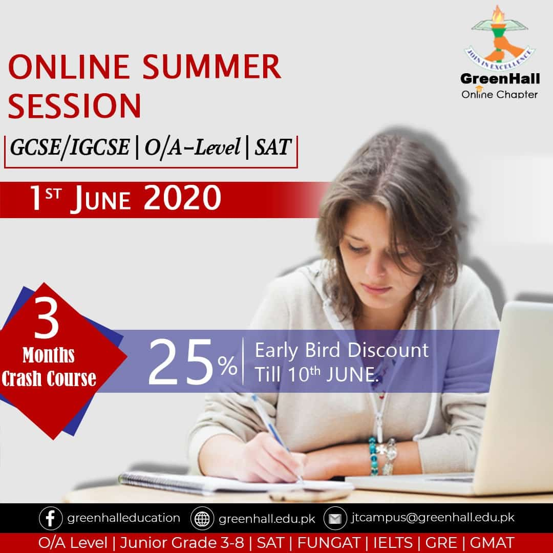 IGCSE/GCSE O-Levels , A-Level , SAT - 3 Months Online Complete Syllabus Crash Course started from 1st June 2020