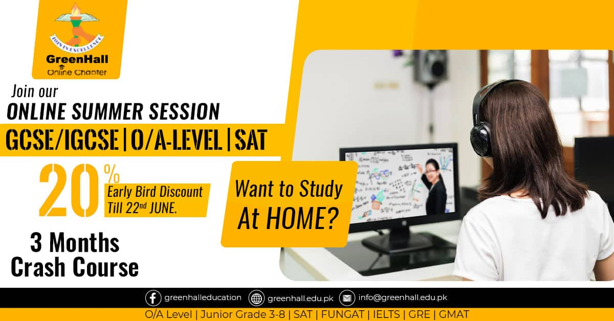 O-Levels , A-Level , SAT - 3 Months Online Complete Syllabus Crash Course started from 1st June 2020